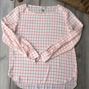 LOFT Long Sleeve Checkered Polyester Blouse Small